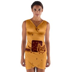 Nyan Cat Vintage Wrap Front Bodycon Dress
