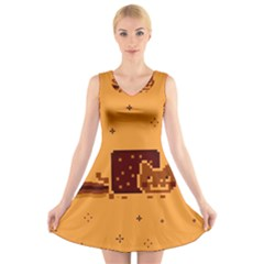 Nyan Cat Vintage V Neck Sleeveless Skater Dress
