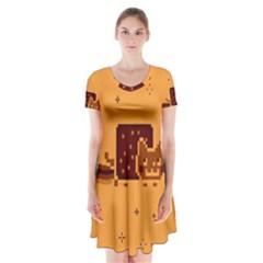 Nyan Cat Vintage Short Sleeve V Neck Flare Dress