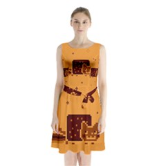 Nyan Cat Vintage Sleeveless Chiffon Waist Tie Dress