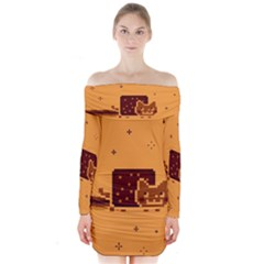 Nyan Cat Vintage Long Sleeve Off Shoulder Dress