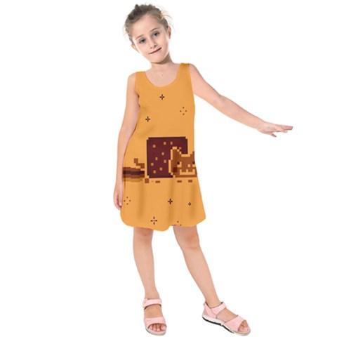Nyan Cat Vintage Kids  Sleeveless Dress