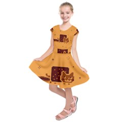 Nyan Cat Vintage Kids  Short Sleeve Dress