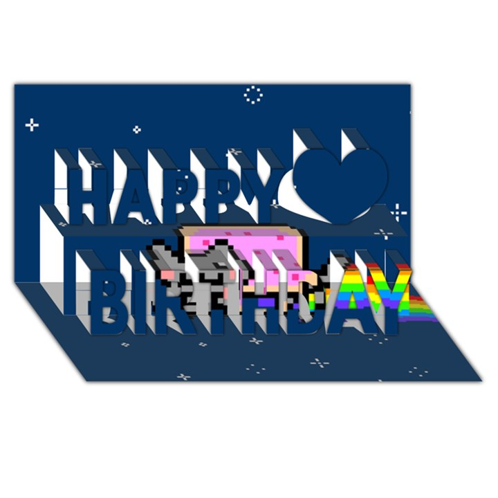Nyan Cat Happy Birthday 3D Greeting Card (8x4)