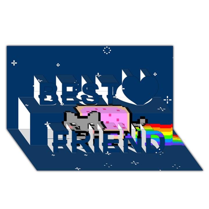 Nyan Cat Best Friends 3D Greeting Card (8x4)