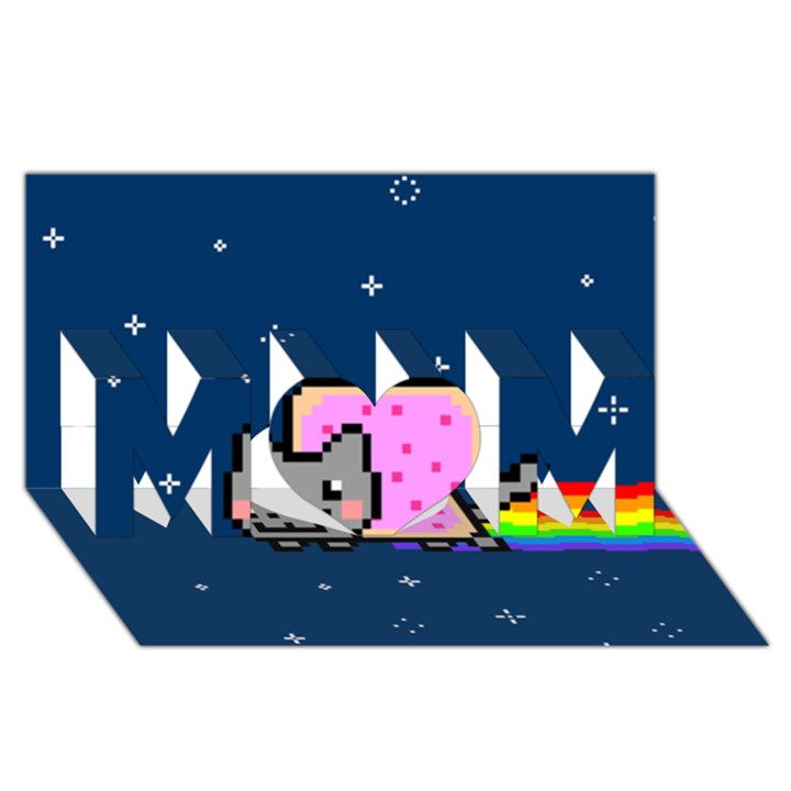 Nyan Cat MOM 3D Greeting Card (8x4)