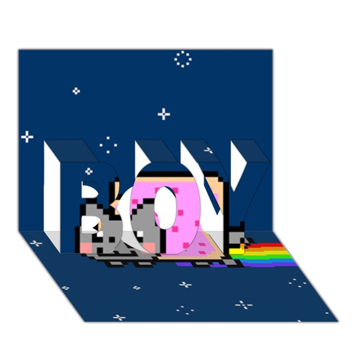 Nyan Cat BOY 3D Greeting Card (7x5)