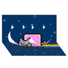Nyan Cat Twin Hearts 3D Greeting Card (8x4)