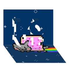 Nyan Cat LOVE 3D Greeting Card (7x5)