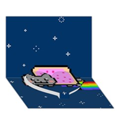 Nyan Cat Heart Bottom 3D Greeting Card (7x5)