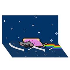 Nyan Cat Twin Heart Bottom 3D Greeting Card (8x4)