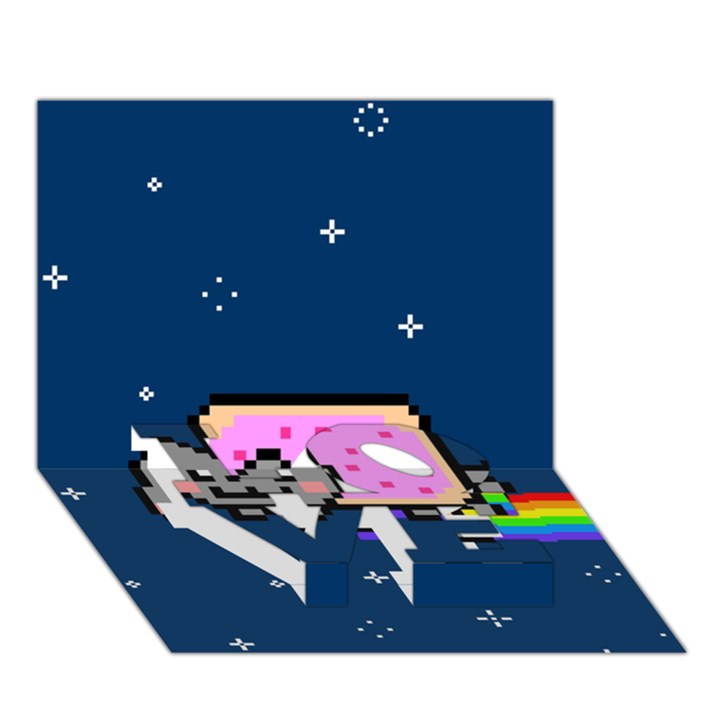 Nyan Cat LOVE Bottom 3D Greeting Card (7x5)
