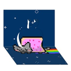 Nyan Cat Apple 3D Greeting Card (7x5)