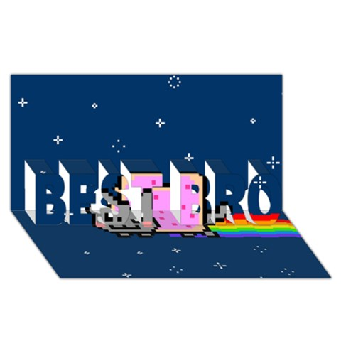 Nyan Cat BEST BRO 3D Greeting Card (8x4)