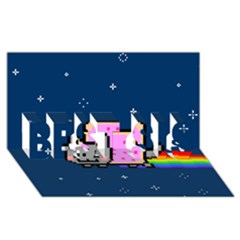 Nyan Cat BEST SIS 3D Greeting Card (8x4)