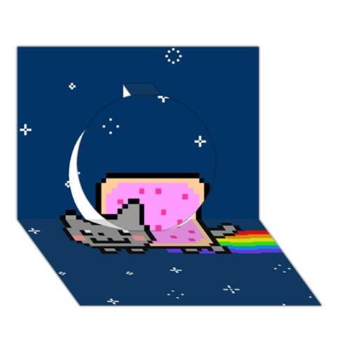 Nyan Cat Circle 3D Greeting Card (7x5)