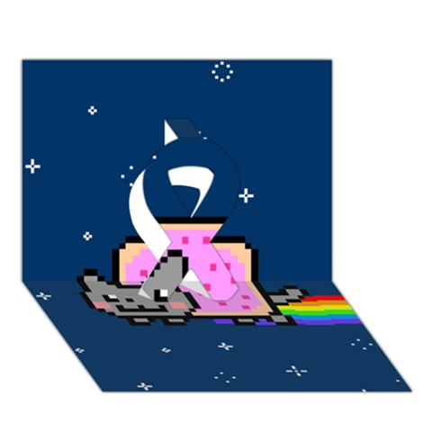 Nyan Cat Ribbon 3D Greeting Card (7x5)