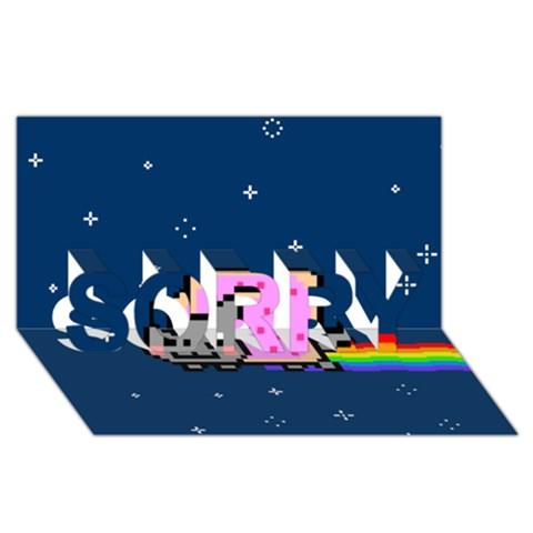 Nyan Cat SORRY 3D Greeting Card (8x4)