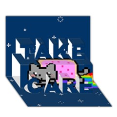 Nyan Cat Take Care 3d Greeting Card (7x5)