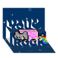 Nyan Cat You Rock 3D Greeting Card (7x5)