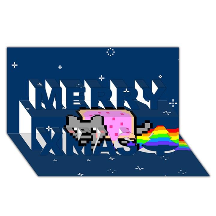 Nyan Cat Merry Xmas 3D Greeting Card (8x4)