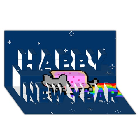 Nyan Cat Happy New Year 3D Greeting Card (8x4)