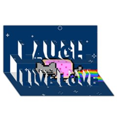 Nyan Cat Laugh Live Love 3D Greeting Card (8x4)