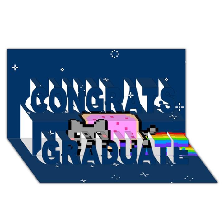 Nyan Cat Congrats Graduate 3D Greeting Card (8x4)