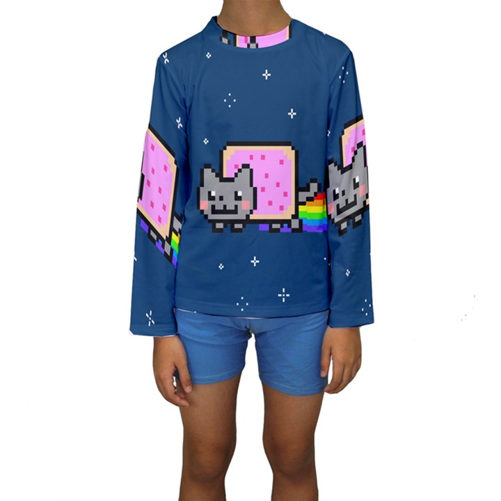 Nyan Cat Kids  Long Sleeve Swimwear