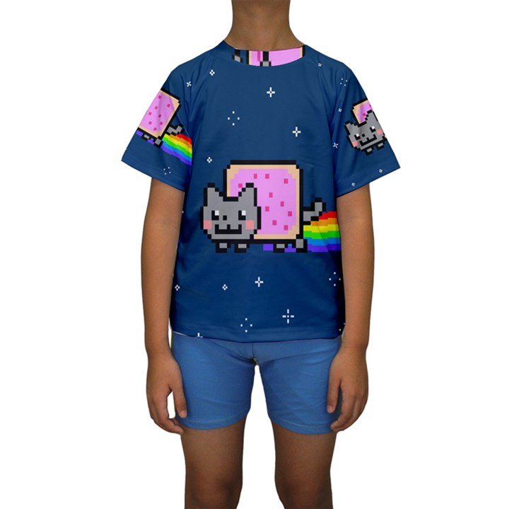 Nyan Cat Kids  Short Sleeve Swimwear