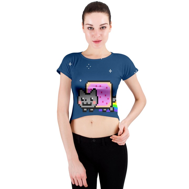 Nyan Cat Crew Neck Crop Top