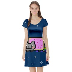 Nyan Cat Short Sleeve Skater Dress