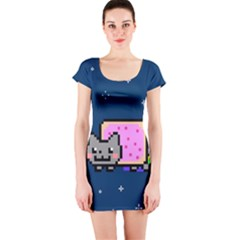 Nyan Cat Short Sleeve Bodycon Dress