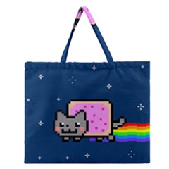 Nyan Cat Zipper Large Tote Bag