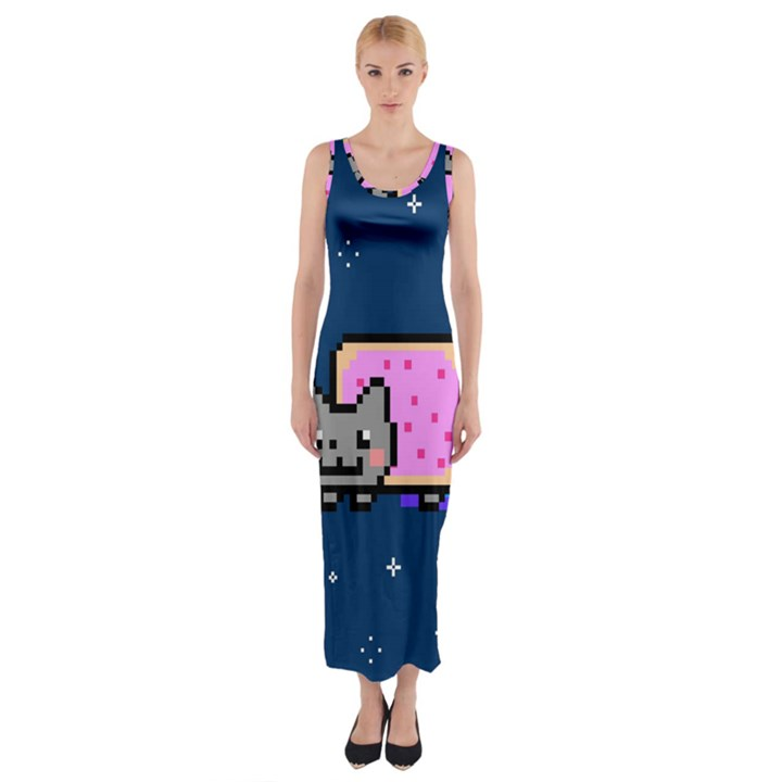 Nyan Cat Fitted Maxi Dress