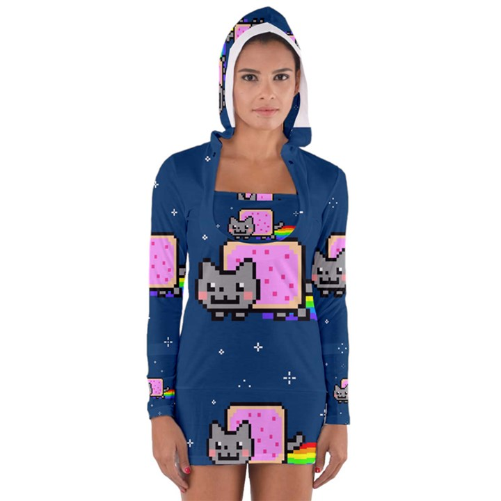 Nyan Cat Women s Long Sleeve Hooded T-shirt