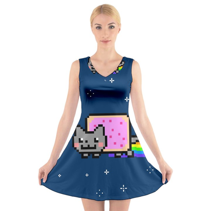 Nyan Cat V-Neck Sleeveless Skater Dress