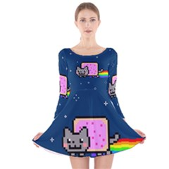 Nyan Cat Long Sleeve Velvet Skater Dress