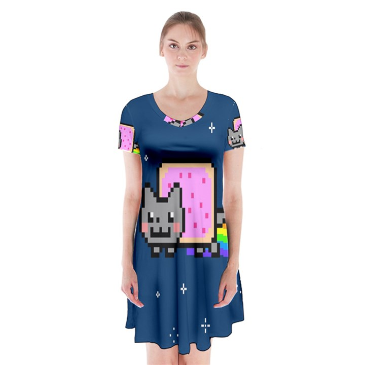 Nyan Cat Short Sleeve V-neck Flare Dress