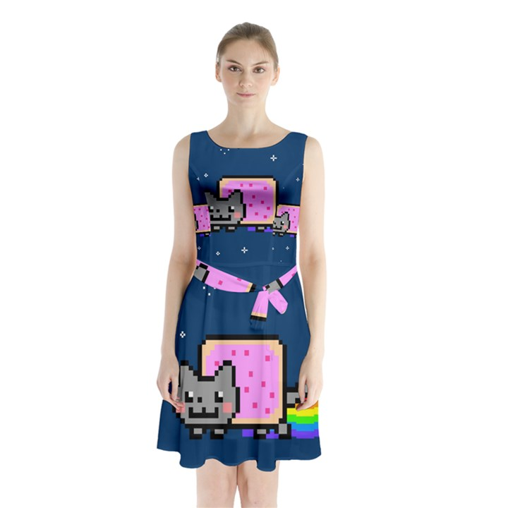 Nyan Cat Sleeveless Chiffon Waist Tie Dress