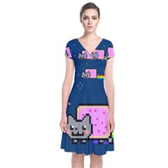Nyan Cat Short Sleeve Front Wrap Dress