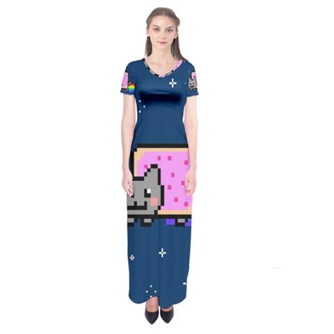 Nyan Cat Short Sleeve Maxi Dress