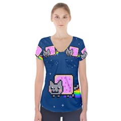 Nyan Cat Short Sleeve Front Detail Top