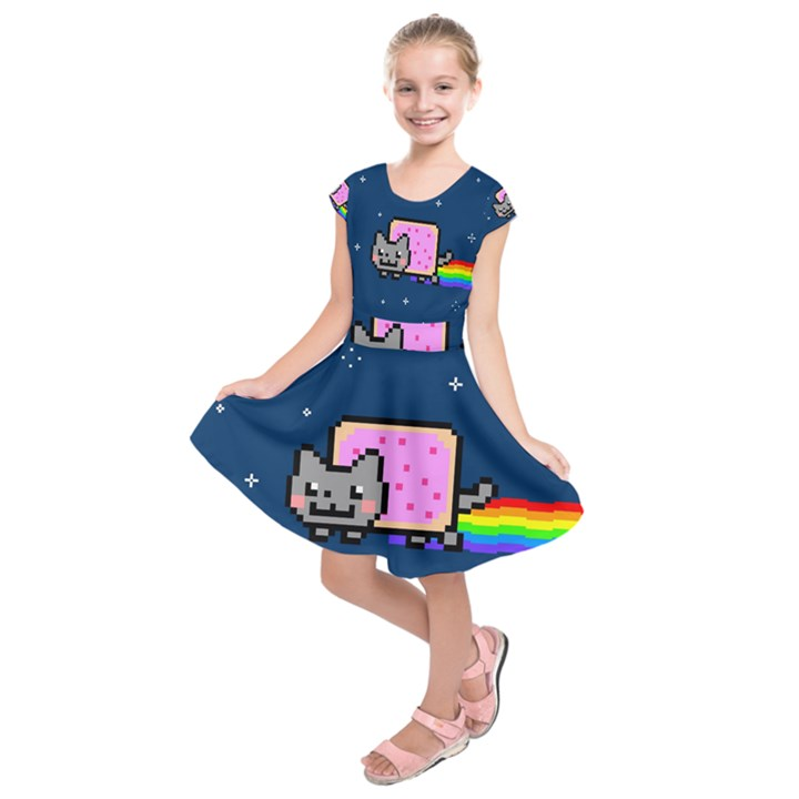Nyan Cat Kids  Short Sleeve Dress