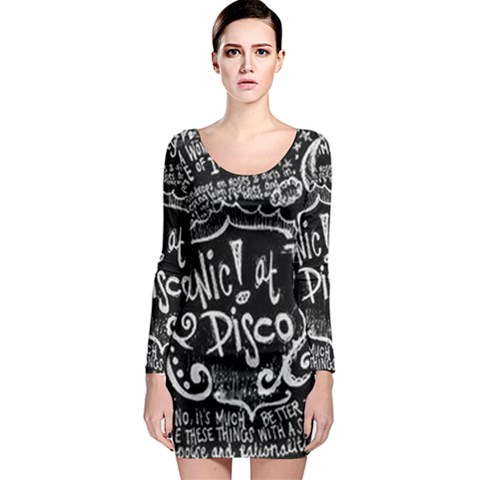 Panic ! At The Disco Lyric Quotes Long Sleeve Bodycon Dress