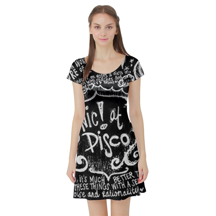 Panic ! At The Disco Lyric Quotes Short Sleeve Skater Dress