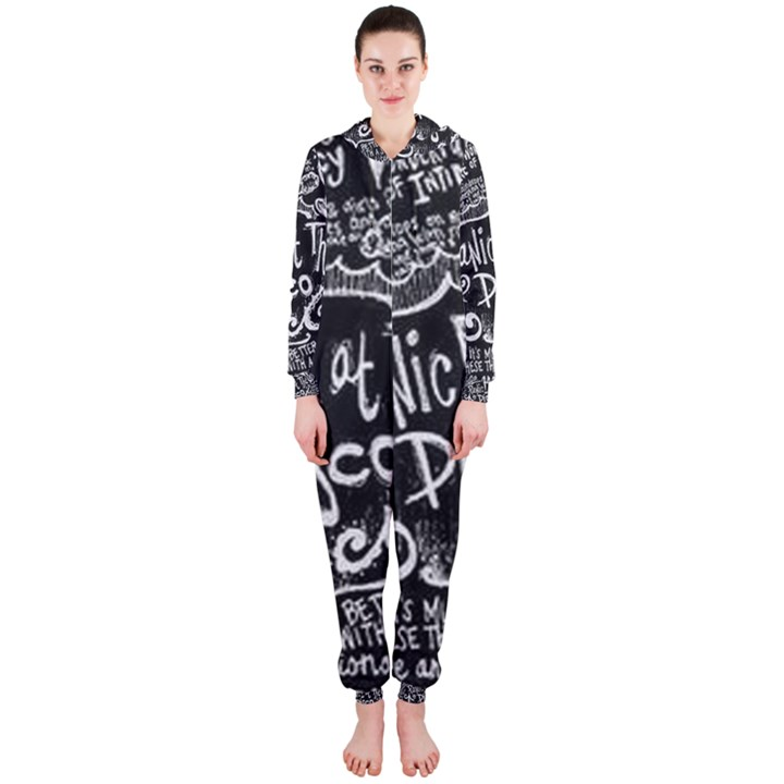 Panic ! At The Disco Lyric Quotes Hooded Jumpsuit (Ladies)