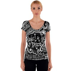 Panic ! At The Disco Lyric Quotes Women s V-Neck Cap Sleeve Top