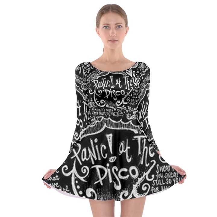 Panic ! At The Disco Lyric Quotes Long Sleeve Skater Dress