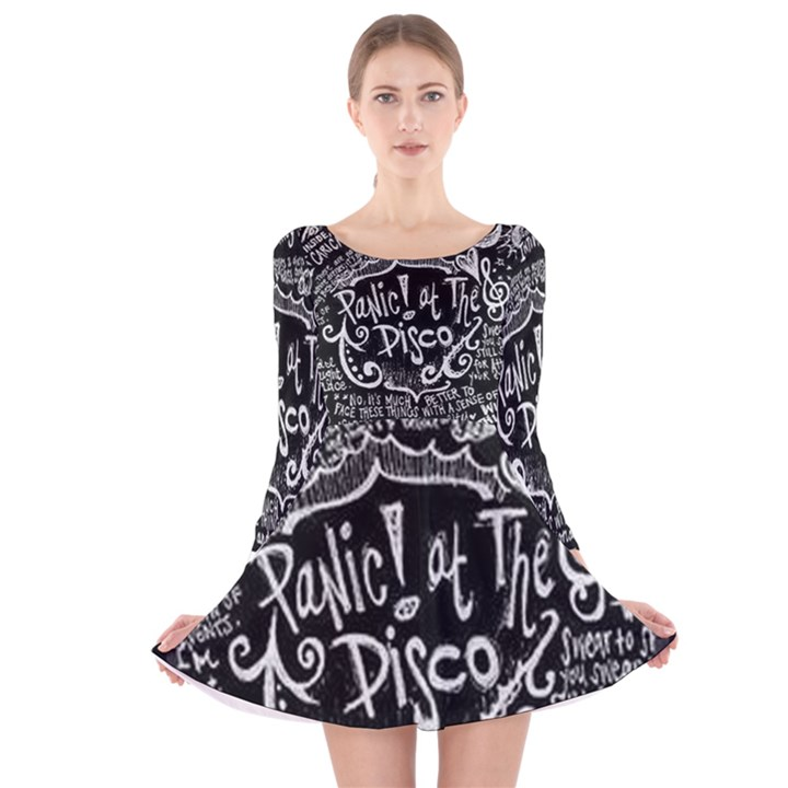 Panic ! At The Disco Lyric Quotes Long Sleeve Velvet Skater Dress